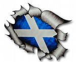 A4 Size Ripped Torn Metal Design With Scotland Scottish Saltire Flag Motif External Vinyl Car Sticker 300x210mm